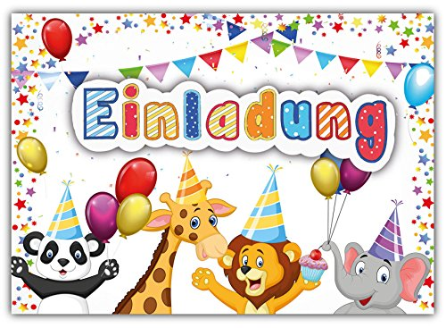 """Preisvergleich Produktbild 12 Einladungskarten zum Kindergeburtstag """"Zoo Tiere"""" // Geburtstagseinladungen Einladungen Geburtstag Kinder Jungen Mädchen Einladungstext 1. 2. Vorlagen Karten"""