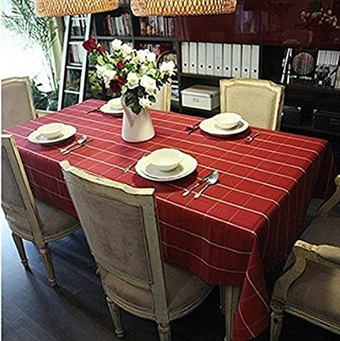 K&C Plaid Red Easy Care Cotton Fabric Rectangular Formal Tablecloth Home Decoration Assorted Size