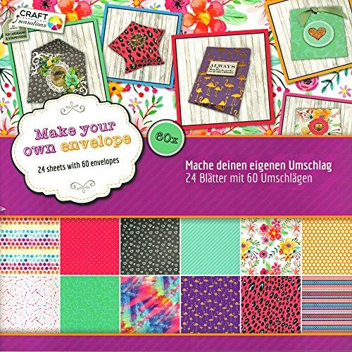 trends4ever Scrapbook Papier Bastelblock Motivpapier 30,5 x 30,5 cm vorgestanzt 24 Blatt DIY für Geschenkboxen oder Umschläge (Umschläge) -