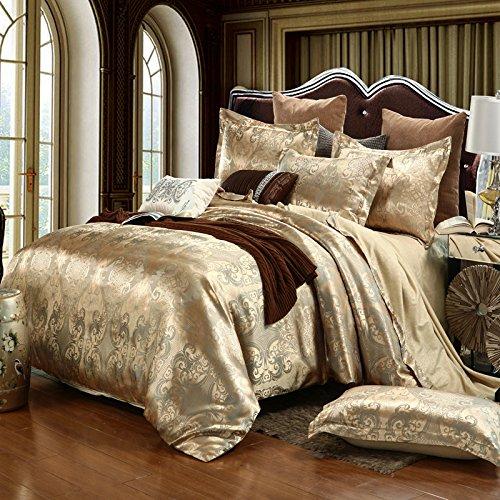 BB.er Jacquard Seide Bettwäsche vier Sets mit Doppelbett Textil, golden