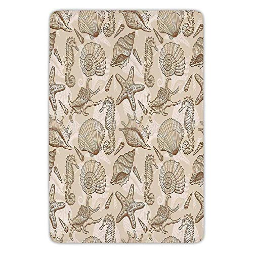 Bathroom Bath Rug Kitchen Floor Mat Carpet,Beige,Exotic Marine Animals in Retro Style Ilustration Shells Starfish Seahorse Contemporary Deco Decorative,Beige,Flannel Microfiber Non-slip Soft Absorbent - Deco-contemporary Rug