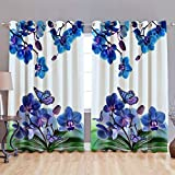 Indian Online Mall Set Of 2 Printed Eyelet Polyester Living Room Window Curtain , Size : Width X Length 48 Inch X 60 Inch (Color - Blue)