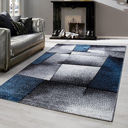Teppiche modern Design Rechteckig Kurzflor Kariert Handcarving Meliert Türkis, Maße:200 cm x 290 cm