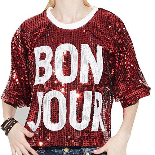 Damen Pailletten Oberseite Lose Kurze Tops Party Show T-Shirt Rot