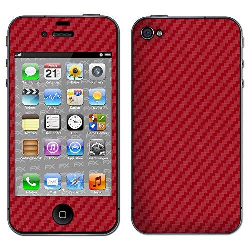 "Skin Apple iPhone 4 / 4s ""FX-Brushed-Black"" Designfolie Sticker FX-Carbon-Red"