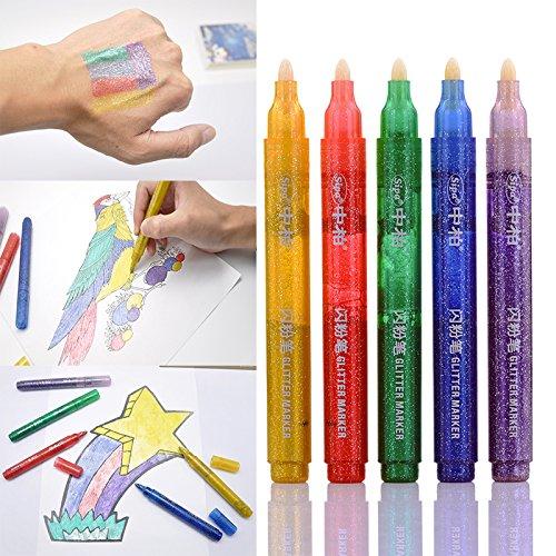 5 rotuladores fluorescentes color purpurina manualidades