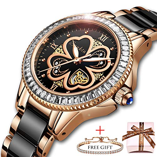 66c6e99fd9d3 SUNKTA Relojes para Mujer Lujo Oro Rosa Relojes de Pulsera Moda Casual  Cerámica Banda 30M Impermeable
