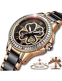 2d3ef59303d7 SUNKTA Relojes para Mujer Lujo Oro Rosa Relojes de Pulsera Moda Casual  Cerámica Banda 30M Impermeable Señoras Chicas Reloj Cuarzo…
