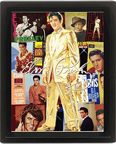 empireposter 557957 Presley, Elvis, Gold, fertig gerahmtes 3D Poster, Größe 20 x 25 cm