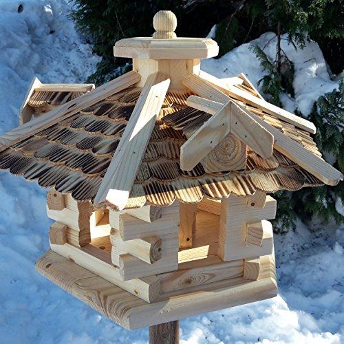 Qualitäts Vogelhaus mit Holzschindeln 6 Eck lasiert Vogelhäuser-Vogelfutterhaus großes Vogelhäuschen-aus Holz Wetterschutz (Natur)