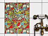 creatisto Küchenfliesen   Klebe-Fliesenaufkleber Fliesen Zum Aufkleben Bad-Folie Wanddeko   20x25 cm Muster Ornament Monster Doodle - 4 Stück