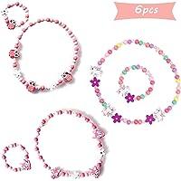SUNSK Prinzessin Halskette Armbänder Sets Bunte Holz Schmuck Perlen Holzkette Perlenkette mit Holzperlen Kleine Mädchen…
