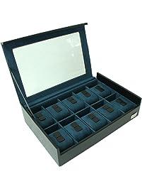 Cordays - Estuche Relojero para 10 Relojes con Vitrina de Cristal Hecho a Mano
