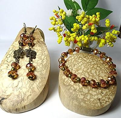 Fête des mères/Parure boucles d'oreille pendantes bracelet élastique perles cristal champagne papillon romantique rétro/idée cadeau femme, Noël, Saint Valentin