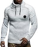 LEIF NELSON Herren Pullover Hoodie Strickpullover Longsleeve Sweatshirt Gesteppt Biker-Style Schalkragen LN5235; Größe M, Ecru-Grau