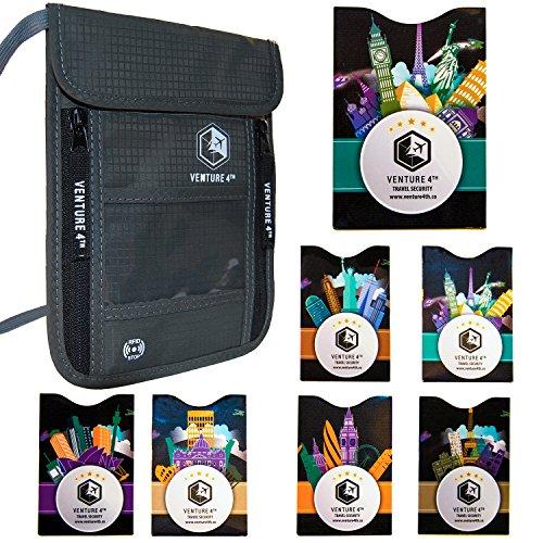 Borsello da Viaggio da Portare al Collo con Protezione RFID Portapassaporto Portafoglio da Viaggio Organizer e Custodia Documenti Antifurto (Grigio + 7 RFID Sleeves)