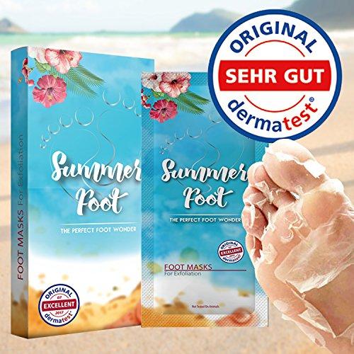 SUMMER FOOT Premium Fußmaske zur Entfernung von Hornhaut: Samtweiche und zarte Füße nach nur...