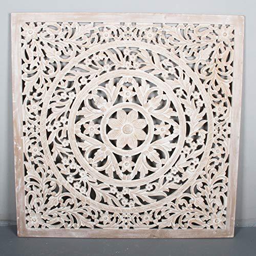 Orientalisches Wandbild Mandala Hawa 120x120 cm XXL weiß braun handgeschnitzte Wand-Dekoration aus MDF zum Hängen & Stellen im Shabby Chic | Kunsthandwerk | Fensterdeko & Weihnachtsdeko | MD3610