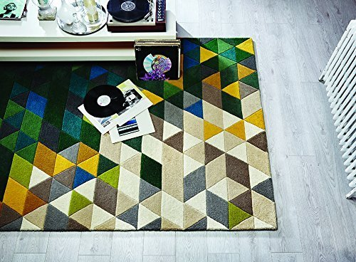 Illusion Prism Thick Modern Hand Tufted Wool Geometry Design Green Multi Coloured Rug in 3 Sizes (160 x 220 cm (5'3'' x 7'3'')) by Lord of Rugs - Prism Multi Teppich