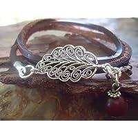 ✿ Filigrana foglia in PELLE MARRONE ✿ braccialetto dell'involucro & Seed (323)