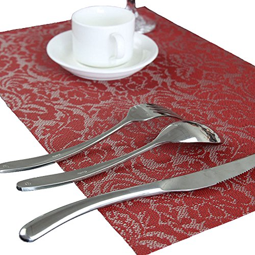 Beautiful Rose Muster 45x 30cm PVC-Hitzebeständig rutschfest Tischset Kaffee Untersetzer Set von 6 rot -