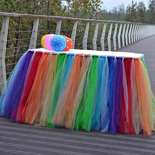 Tischverkleidung Tisch Rock Tulle 7 Farben-Tabellen-Tuch-Abdeckung für Partei-Tabellen-Abdeckungen Hochzeits-Geburtstag-Dekoration-Ausgangsdekor-Mädchen, 91.5x80cm (1PC) (Rock Tuch Tabelle)