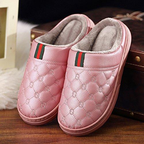 DogHaccd pantofole,Le coppie home cotone pantofole donne coperta spessa inverno caldo con trattamento di mezza pensione con un soggiorno con pelle PU pantofole per uomini Pelle di colore rosso2