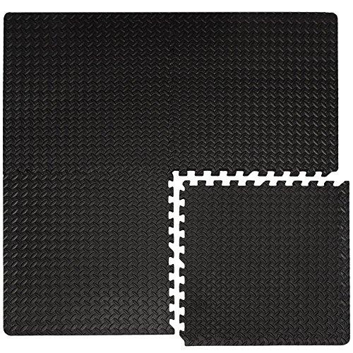 eyepower 4 Bodenmatten je 63x63cm extra dick 2cm Gesamtfläche 1,59qm inkl. 8 Abschlussleisten beliebig erweiterbare Steckmatten Fitness Yoga Judo Trainingsmatte Schutzmatten Unterlegmatten Bodenauflagen Schwarz