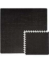 Suelos de Gimnasio en Puzle | 4 Alfombras más 8 Marcos | en Espuma EVA | Ideal para Yoga Gimnasia Judo etc | Espesor 20mm | Negro