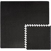 Eyepower 4 Bodenmatten je 63x63cm Sportmatte 20mm Dicke Trainingsmatte inkl Umrandung erweiterbare Steckmatte Schwarz