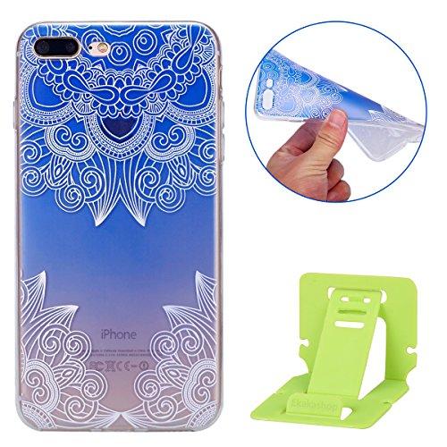 Coque iPhone 7 Plus Flexible Souple Case,iPhone 7 Plus Housse Étui Transparente,Ekakashop Ultra Mince Coque de Protection en Soft TPU Silicone avec Motif Dentelle Diagonal Protecteur Back Flexible Gel Motif Bleu Dégradé