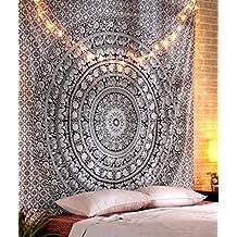 Black and White Tapestry, Tapiz Hippie Elephant Wall Hanging, Tapices Indio Mandala Blanco y Negro Elefante Wall Tapestry, Tapiz Playa Cubierta de Tela By Rajrang