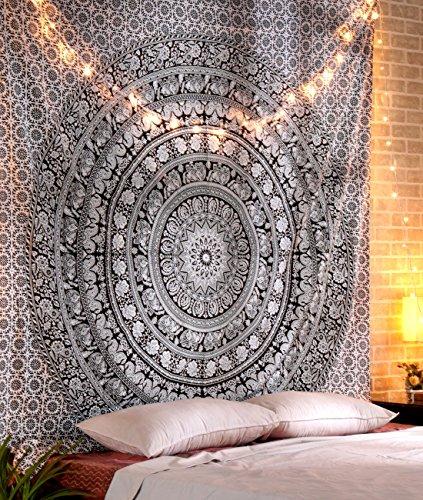 RAJRANG arazzo Mandala Black And White Elephant Arazzi Indiano Home Decor Copriletto Bianco e Nero Doppio etnicoTapestry Hippie Estivo Arazzi By