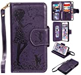 Nancen Compatible avec Apple iphone 6 Plus / 6S Plus (5,5 Pouces) Coque, Fille et Oiseau Motif Flip Étui Housse Wallet Couleur Solide Case Accessoires de Téléphone
