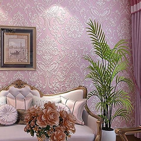 Europäische Wand Gold Non-Woven-Stoff, Personalisierte Tapete, Wohnzimmer, Schlafzimmer, Hintergrund Wand, Tapete, Rosa