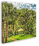 deyoli Pavillon in Bezaubernder Landschaft im Format: 60x60 Effekt: Zeichnung als Leinwandbild, Motiv auf Echtholzrahmen, Hochwertiger Digitaldruck mit Rahmen, Kein Poster oder Plakat