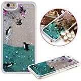 "Voguecase® Para Apple iPhone 6 Plus/6S Plus(5.5"") ,Líquido Dinámico Arena Movediza Stars Funda Carcasa Duro Tapa Case Cover (Plata-Pingüinos de natación) + Gratis aguja de la pantalla stylus universales"
