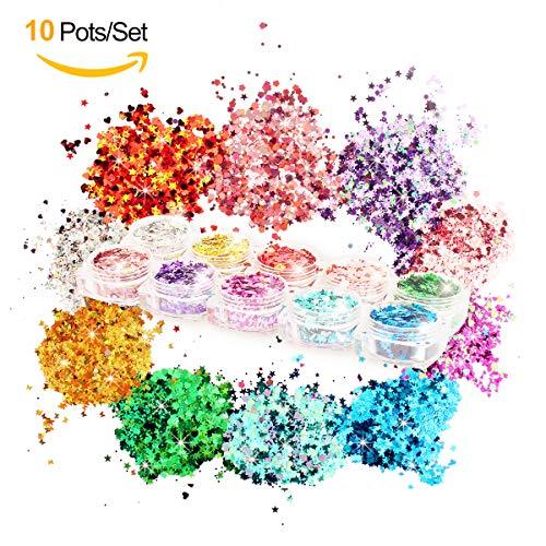 10Töpfe geschoben Kosmetik Glitzer Set für Gesicht Körper Make-up Nail Tattoos Festival Party Ball, 10Reihe von Farben (jedes Serie hat 3Farben) 9Formen: Blumen, Herzen, Sterne, Schmetterlinge, Dreiecke, Kreis, Pfeile, Blätter, Sechseck.