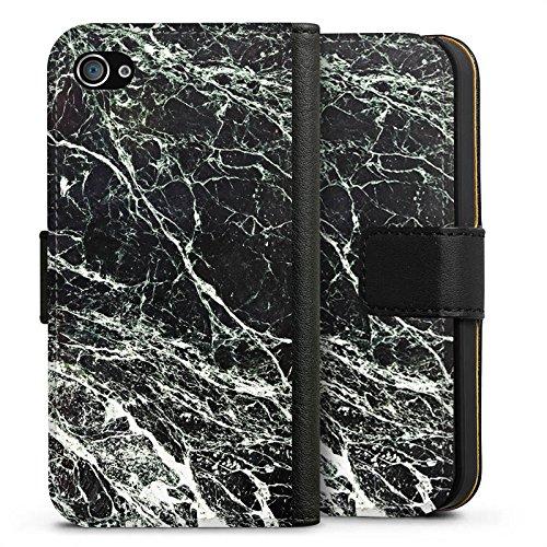 Apple iPhone X Silikon Hülle Case Schutzhülle Marmor Look Schwarz Black Marble Marmoriert Sideflip Tasche schwarz