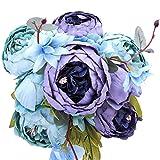 StarLifey Artificial peonía 1 ramo 8 cabezas Flores de seda para decoración del hogar o bodas (Gris Azul)