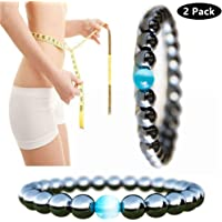 Bracelet magnétique unisexe bracelet en pierre d'hématite pour la perte de poids amincissant anti-fatigue des soins sains hommes femmes bijoux (2Pcs)