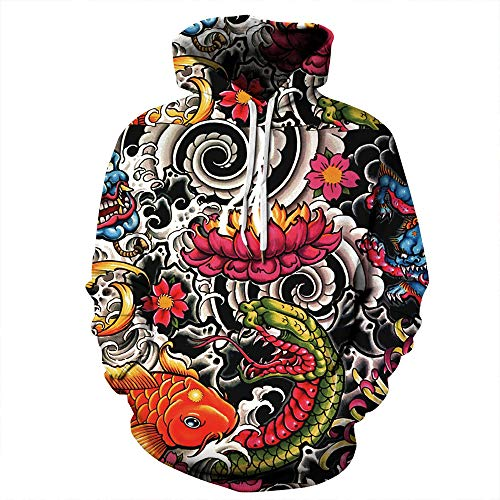 LHXMAS Weihnachts-Kostüme Adult Couple Round Neck gestreift Funny Cute Print Hooded Sweater,XXL/XXXL