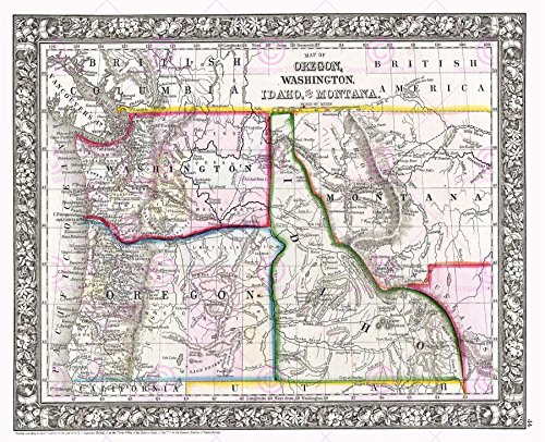 1866 Antique Print (MAP ANTIQUE 1866 MITCHELL OREGON WASHINGTON LARGE REPLICA POSTER PRINT PAM1868)