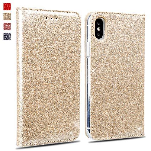 OKZone iPhone XS Max Hülle, Glitzer Bling Premium PU Leder Handyhülle Brieftasche-Stil Magnetisch Folio Flip Etui Brieftasche Hülle Schutzhülle Tasche Case für Apple iPhone XS Mas (Gold) -