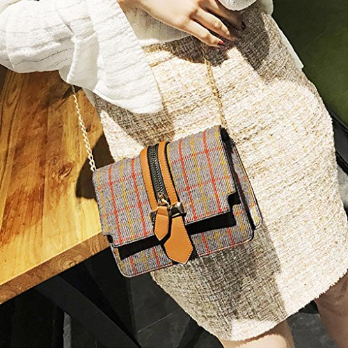 Longra Materiale superiore di lana Moda Donna Stripe Zipper Decorazione Plaid Pattern Hasp Single Shoulder Bag Grigio
