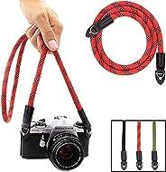Eorefo Camera Strap Vintage 100cm Nylon Climbing Rope Camera Neck Shoulder Strap for Micro Single and DSLR Camera,Red/Black.