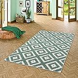Pergamon In- und Outdoor Teppich Beidseitig Flachgewebe Newport Grün Modern Karo in 5 Größen