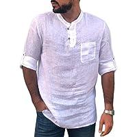 ARbuliry Camicia da Uomo in Canapa Colletto alla Coreana Camicie Casual Maglie a Manica Lunga Tinta Unita Camicetta Sottile con mezzi Bottoni