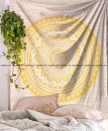uf Gelb Ombre Betten Hippie Mandala Wandbehang Ombra Betten Tapisserie ()