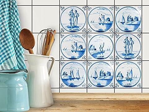 Adhésif mural cuisine et salle de bain | Vinyl Autocollant decoratif pour carrelage | Revêtement pour credence cuisine - Pose facile | Design Tuile Hollondais | 15x15 cm (9 piéces)
